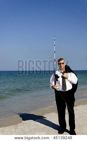Business Man With Fishing Pole
