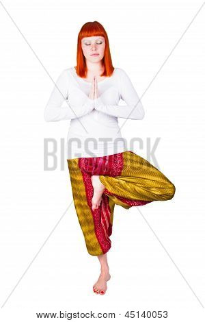 Young Woman Is Engaged In Yoga