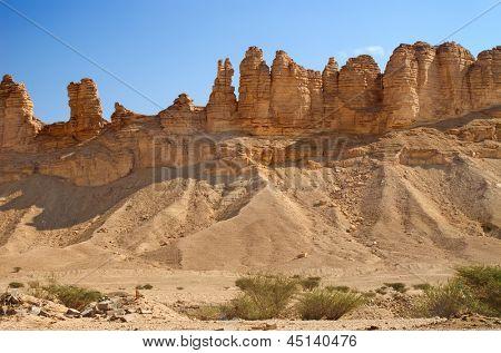 Clay rocks surrounding Riyadh city in Saudi Arabia