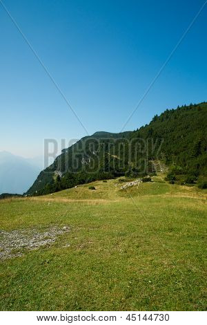 meadows and mountains of the Dolomites