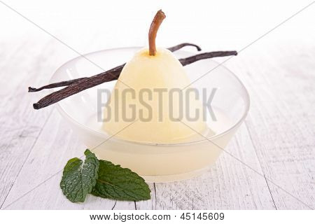 poached pear with syrup