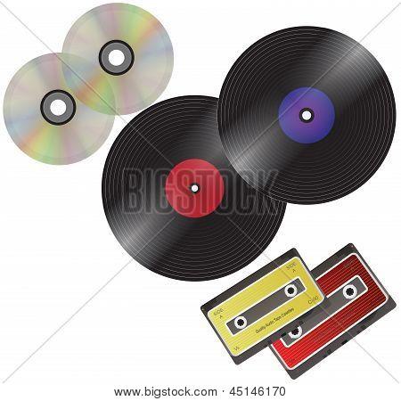 Vinyl Plate, Cd Disc And Audio Cassette.