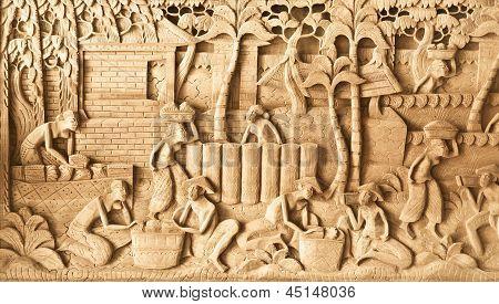 People Carved On Wood
