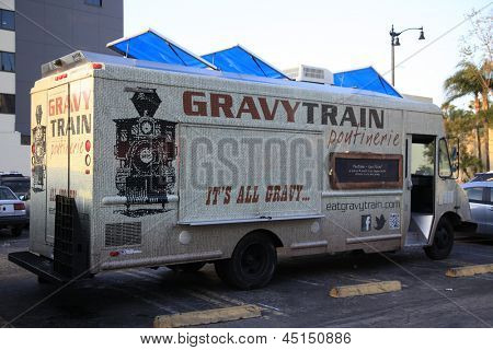LOS ANGELES -APR 25: Gravy Train Food Truck in Hollywood serving fries and gravy on April 25, 2013 in Los Angeles, California