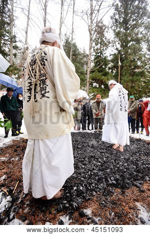 NAGANO, JAPAN - FEB 4: Shinto Ascetics perform ancient rites February 4, 2013 in Nagano, JP. Known as Yamabushi, they are mountain hermits with a long tradition of mysticism.