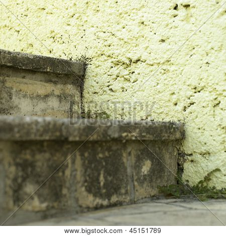 Stone Stairs And Yellow Wall