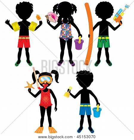 Kids Swimsuit Silhouettes