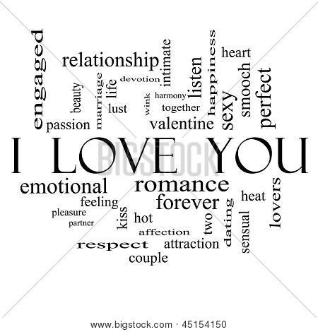 I Love You Word Cloud Concept On In Black And White