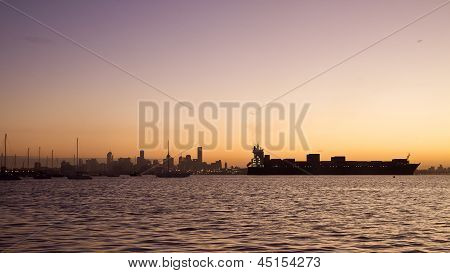 Ship and the Melbourne Skyline