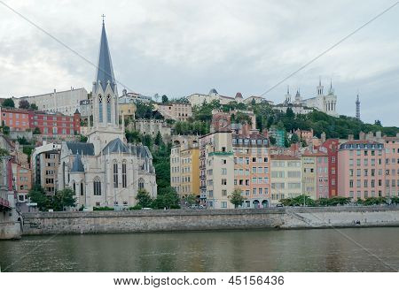 View To St-Georges Church And Fourviere Hill