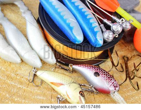 Fishing equipment on wooden