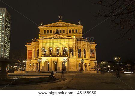 old Oper At Night  In Frankfurt