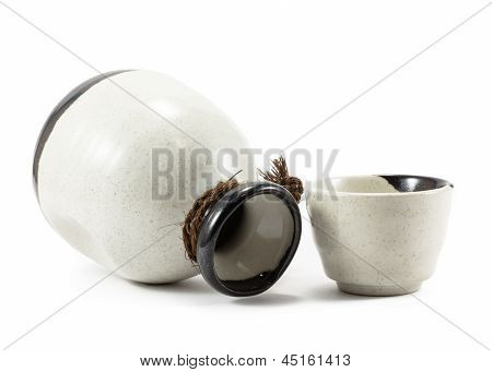 Empty Ceramic Jug And Cup Isolated On White Background