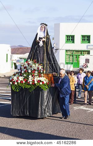 Easter Procession With Holy Mary In Yaiza, Lanzarote