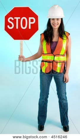 Conceptual Smiling Construction Lady Worker Stopping You For Something