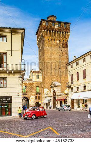 Torre Di Castello In Vicenza, Old Historic Fortress Building