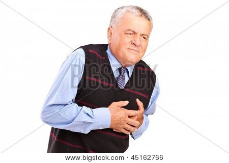 A mature man having a heart attack isolated on white background