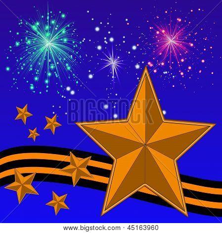 Gold Bright Stars, Yellow-black Ribbon And Banger