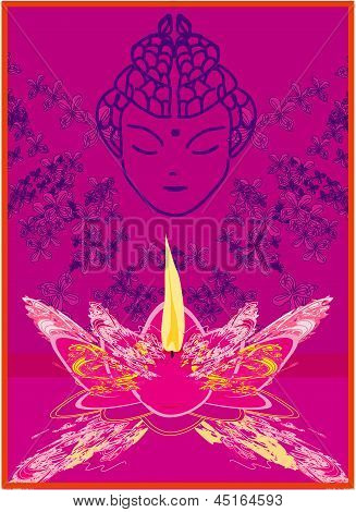 Lotus Oil Lamp With Buddha