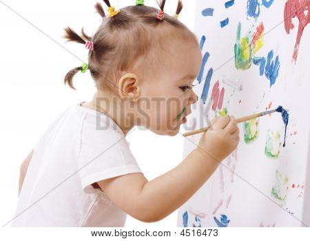 Little Girl Paint On A Board