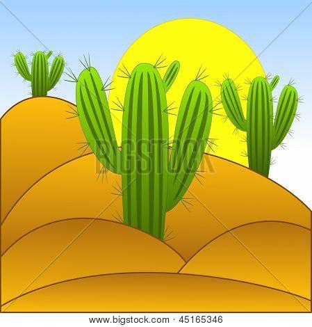 Drawn Green Cactuses In The Desert