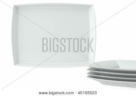 White Square Ceramic Dishes Set