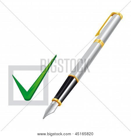 Pen With Checked Box