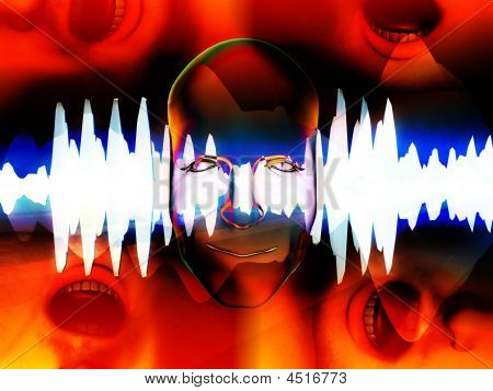 Face With Mouths And Soundwave