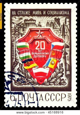 Vintage  Postage Stamp.  Warsaw Treaty.
