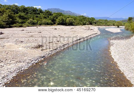 Aspropotamos river near Trikala city in Greece