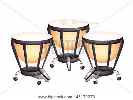 Three Beautiful Classical Timpani On White Background