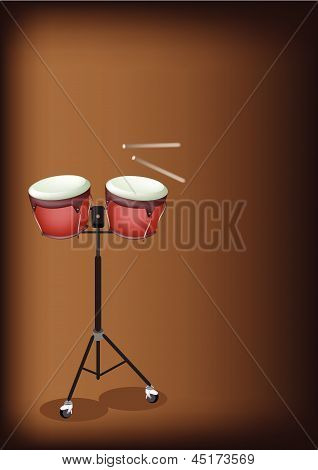 Beautiful Bongo On Stand With Dark Brown Background