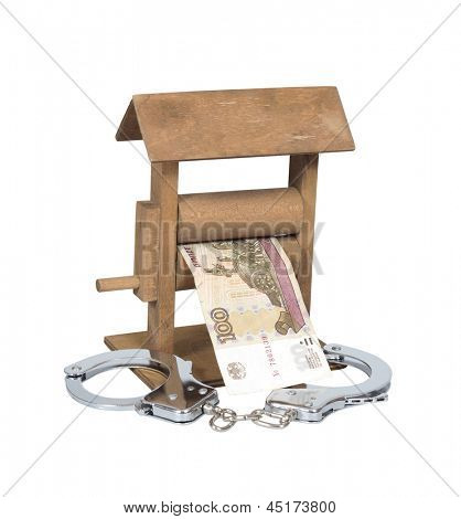 Money laundering. Rouble bill in the wringer with handcuffs isolated over white, clipping path included.