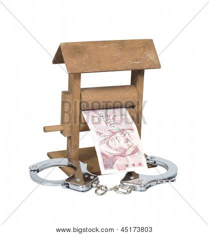 Money laundering. Czech Koruna bill in the wringer with handcuffs isolated over white, clipping path included.