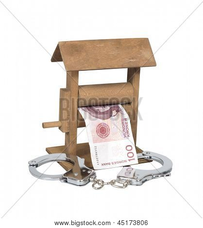 Money laundering. Norwegian Krone bill in the wringer with handcuffs isolated over white, clipping path included.