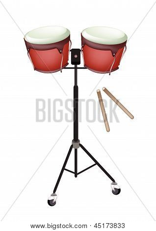 Beautiful Bongo Drum With Sticks On White Background