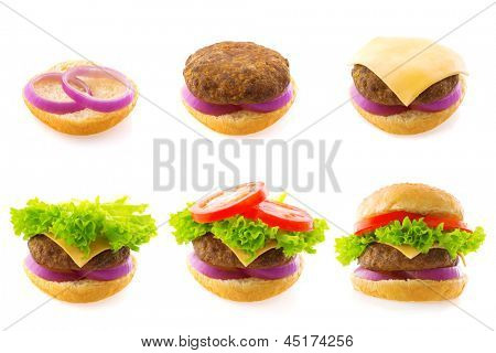 Process making of burger, step by step isolated on white.