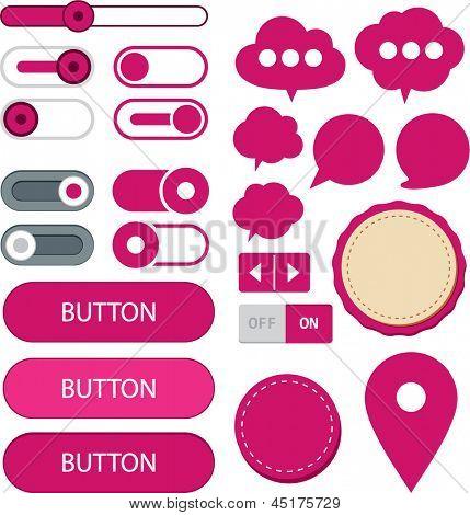 Ilustração em vetor de elementos web simples fúcsia. Interface de usuário simples.
