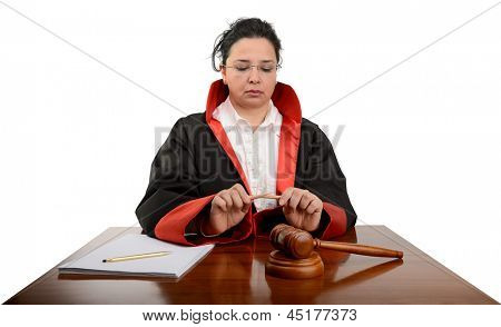 Female judge breaking pencil meaning capital punishment according to some judiciary systems