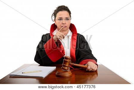 Angry female judge striking the gavel to keep silence isolated on white background