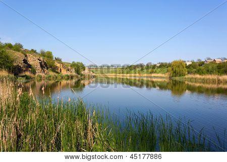 Summer scene on Sure river, Ukraine