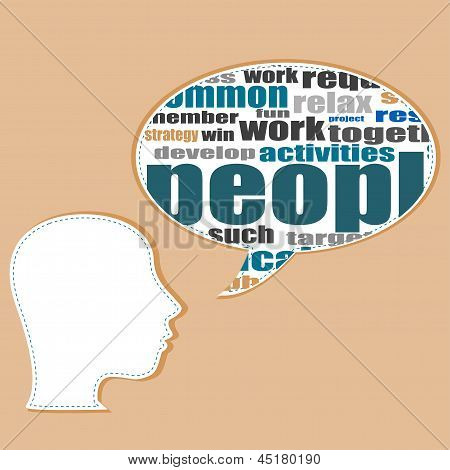 Word Cloud Business Concept With Businessman Head, Career Development