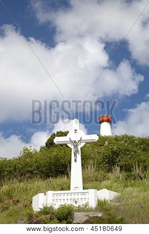 Gustavia Cross and Lighthouse, St. Barts, French West indies
