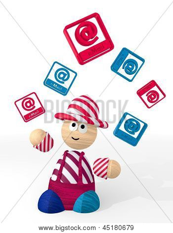 3d render of a cute email sign juggled by a clown