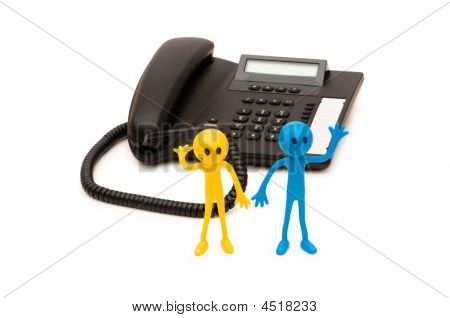 Phone Support Concept  - Smilie And Telephone Isolated On White