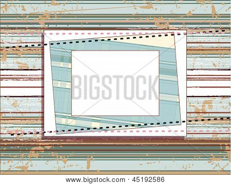 Square Frame On The Vintage Shabby Background With Lines