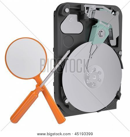 Hard drive, screwdriver and magnifying glass