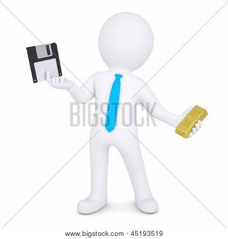 3d man changes floppy disk on gold