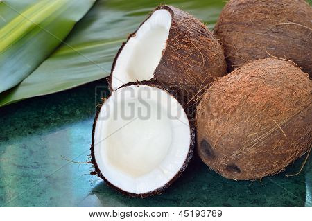Few Coconuts On Green Marble Slab