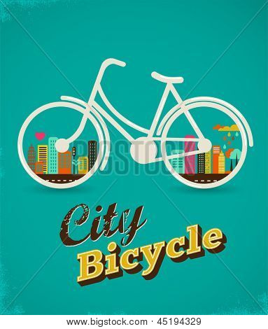 Bicycle with city landscape, vintage poster